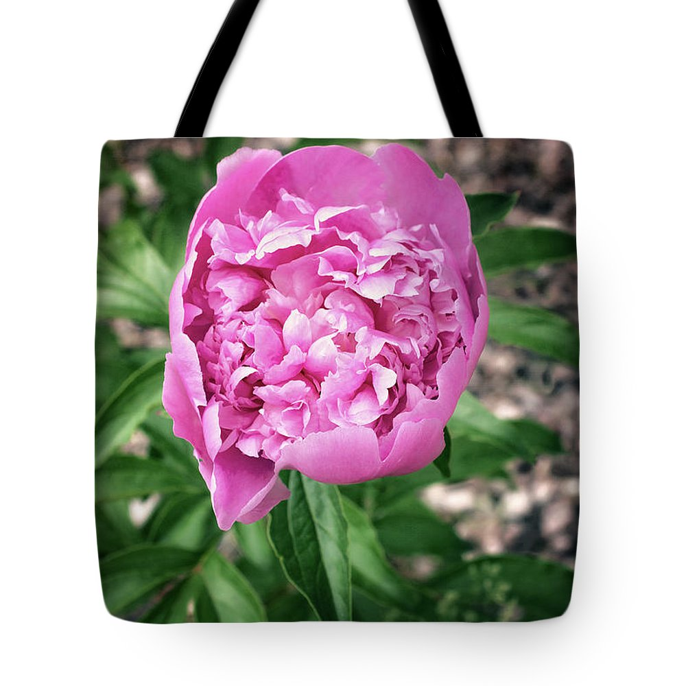 Pink Peony Print Tote Bag featuring the photograph Pink Peony Print by Gwen Gibson