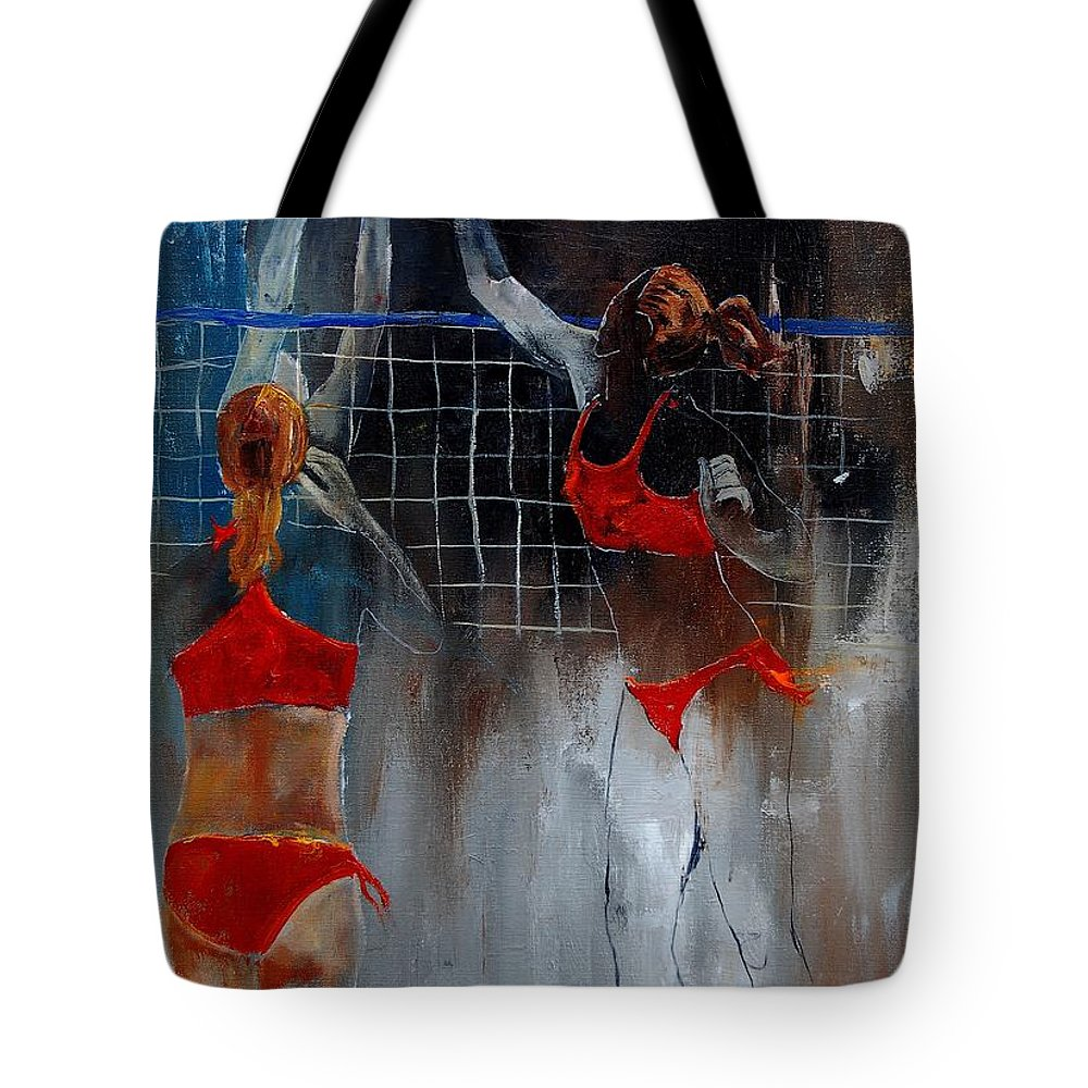 Sport Tote Bag featuring the painting Playing Volley by Pol Ledent