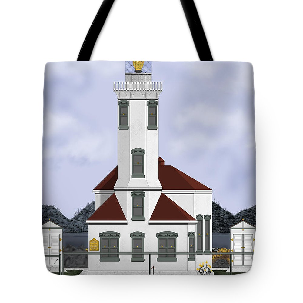 Lighthouse Tote Bag featuring the painting Point Wilson Lighthouse by Anne Norskog