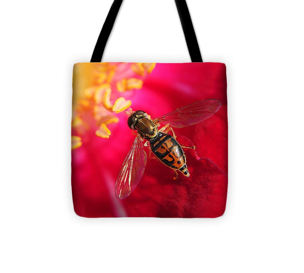 Bee Tote Bag featuring the photograph Pollen Feast by Frozen in Time Fine Art Photography
