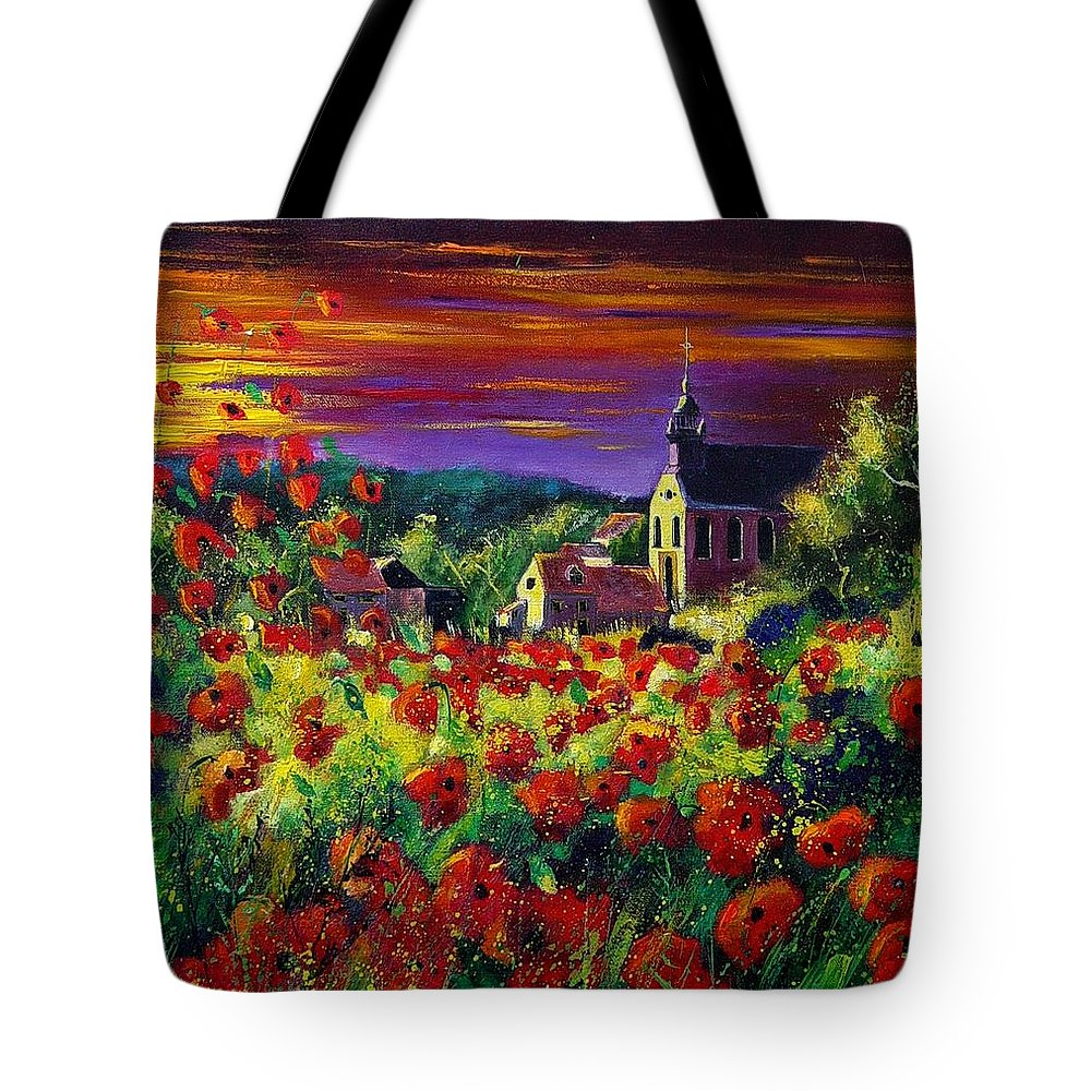 Flowers Tote Bag featuring the painting Poppies In Foy by Pol Ledent