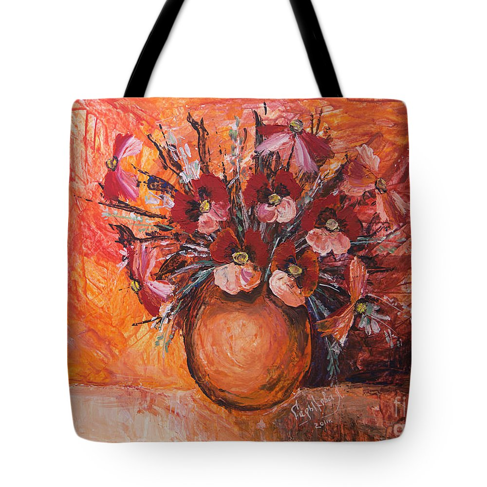 Poppies Tote Bag featuring the painting Poppies by Yana Sadykova