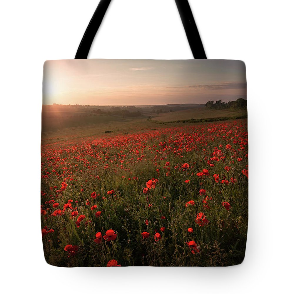 Poppy Tote Bag featuring the photograph Poppy Field by Ian Hufton