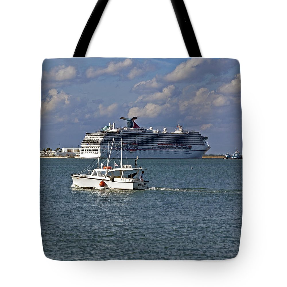 Port Tote Bag featuring the photograph Port Canaveral In Florida by Allan Hughes