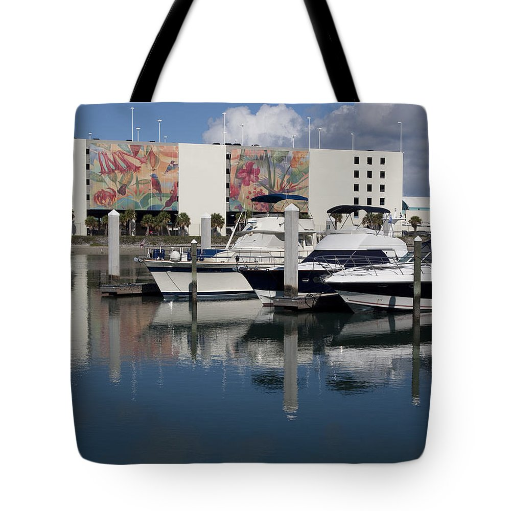 Florida Tote Bag featuring the photograph Port Canaveral In Florida Usa by Allan Hughes