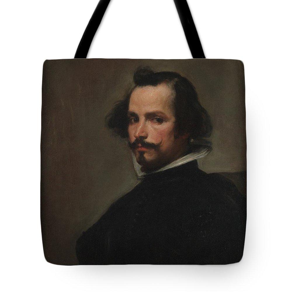 Workshop Of Velzquez Portrait Of A Man Tote Bag featuring the painting Portrait Of A Man by Workshop of Velzquez