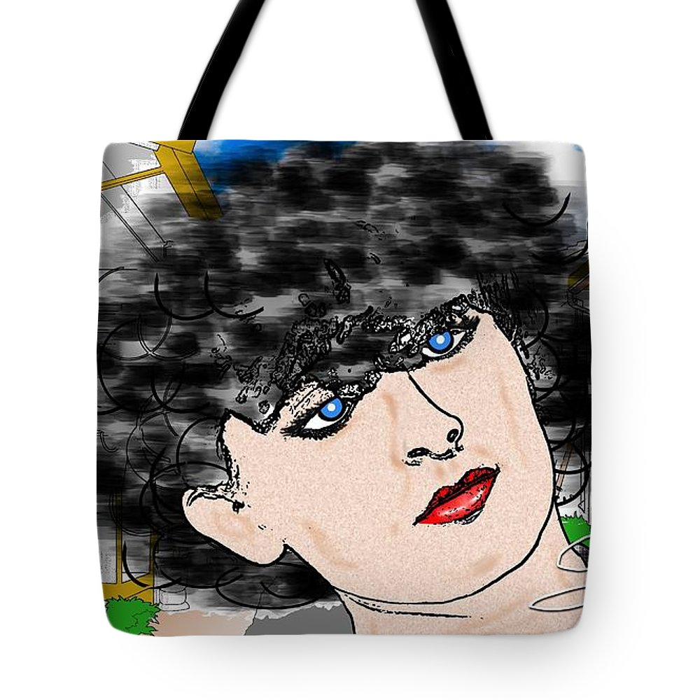 Portrait Tote Bag featuring the drawing Portrait With Adonit Pixel. by Silvano Franzi