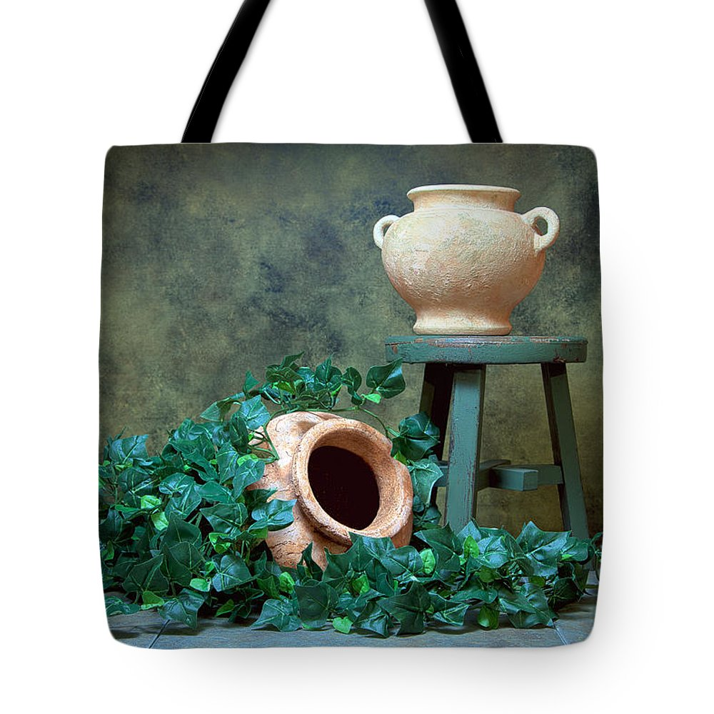 Ivy Tote Bag featuring the photograph Pottery With Ivy I by Tom Mc Nemar