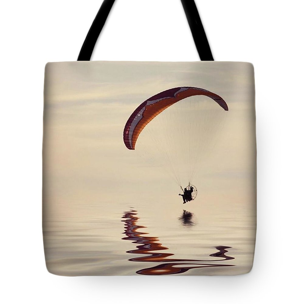 Flyinghigh Tote Bag featuring the photograph Powered Paraglider by John Edwards