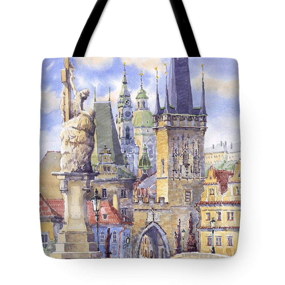 Watercolour Tote Bag featuring the painting Prague Charles Bridge by Yuriy Shevchuk
