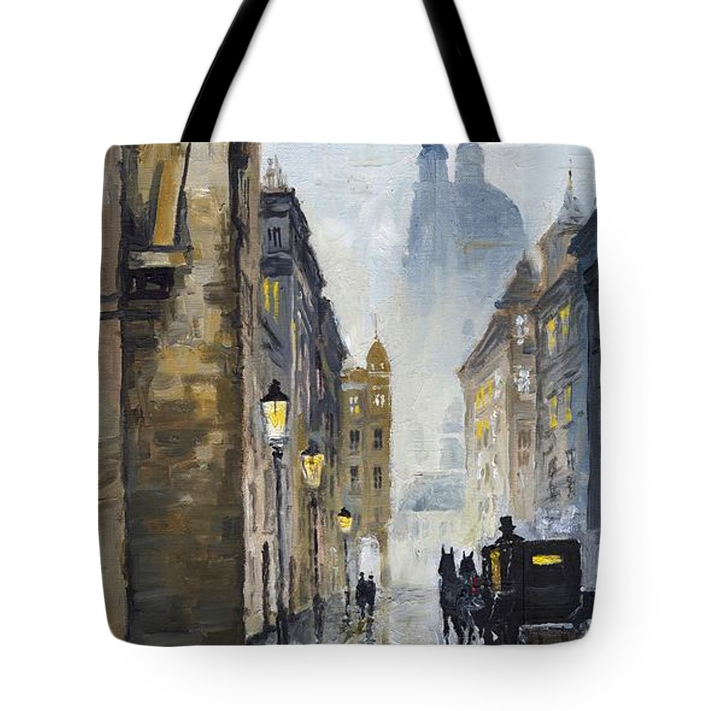 Prague Tote Bag featuring the painting Prague Old Street 01 by Yuriy Shevchuk