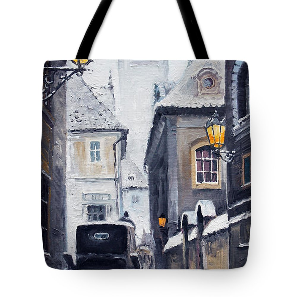 Oil Tote Bag featuring the painting Prague Old Street 02 by Yuriy Shevchuk