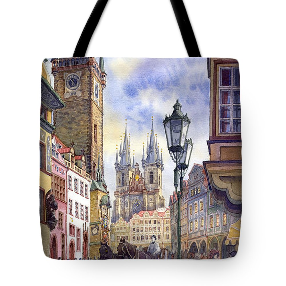 Watercolour Tote Bag featuring the painting Prague Old Town Square 01 by Yuriy Shevchuk
