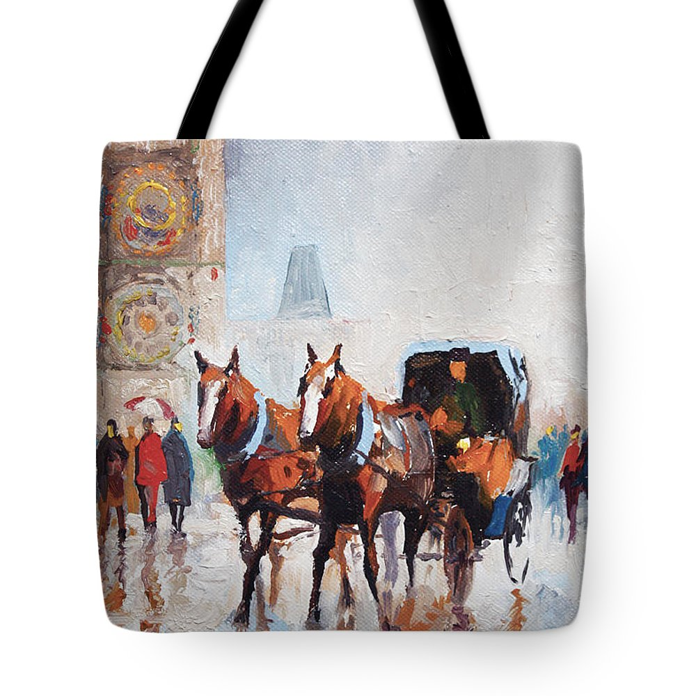 Prague Tote Bag featuring the painting Prague Old Town Square by Yuriy Shevchuk