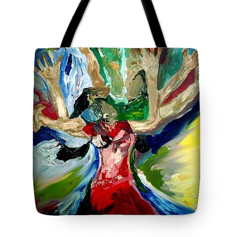 Praise Dancers Tote Bag featuring the painting Praise Dance by Kelly Turner