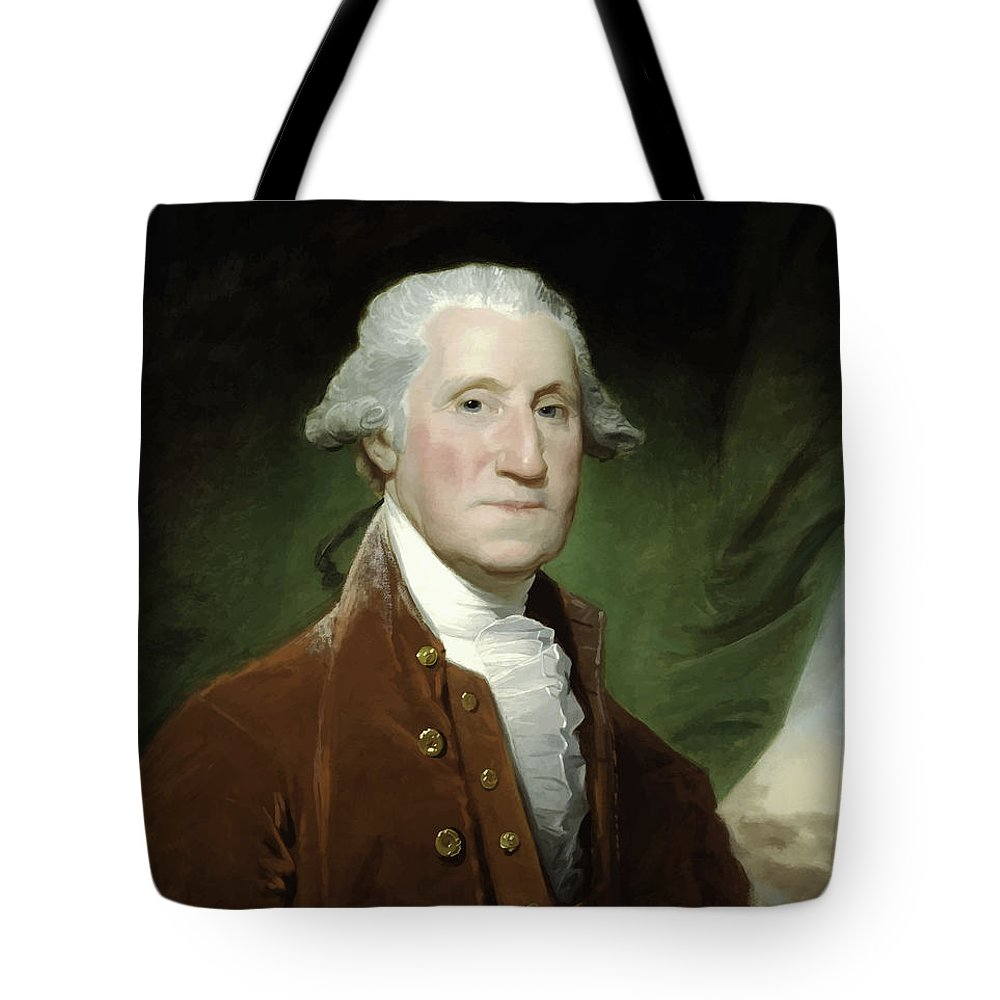 George Washington Tote Bag featuring the painting President George Washington by War Is Hell Store