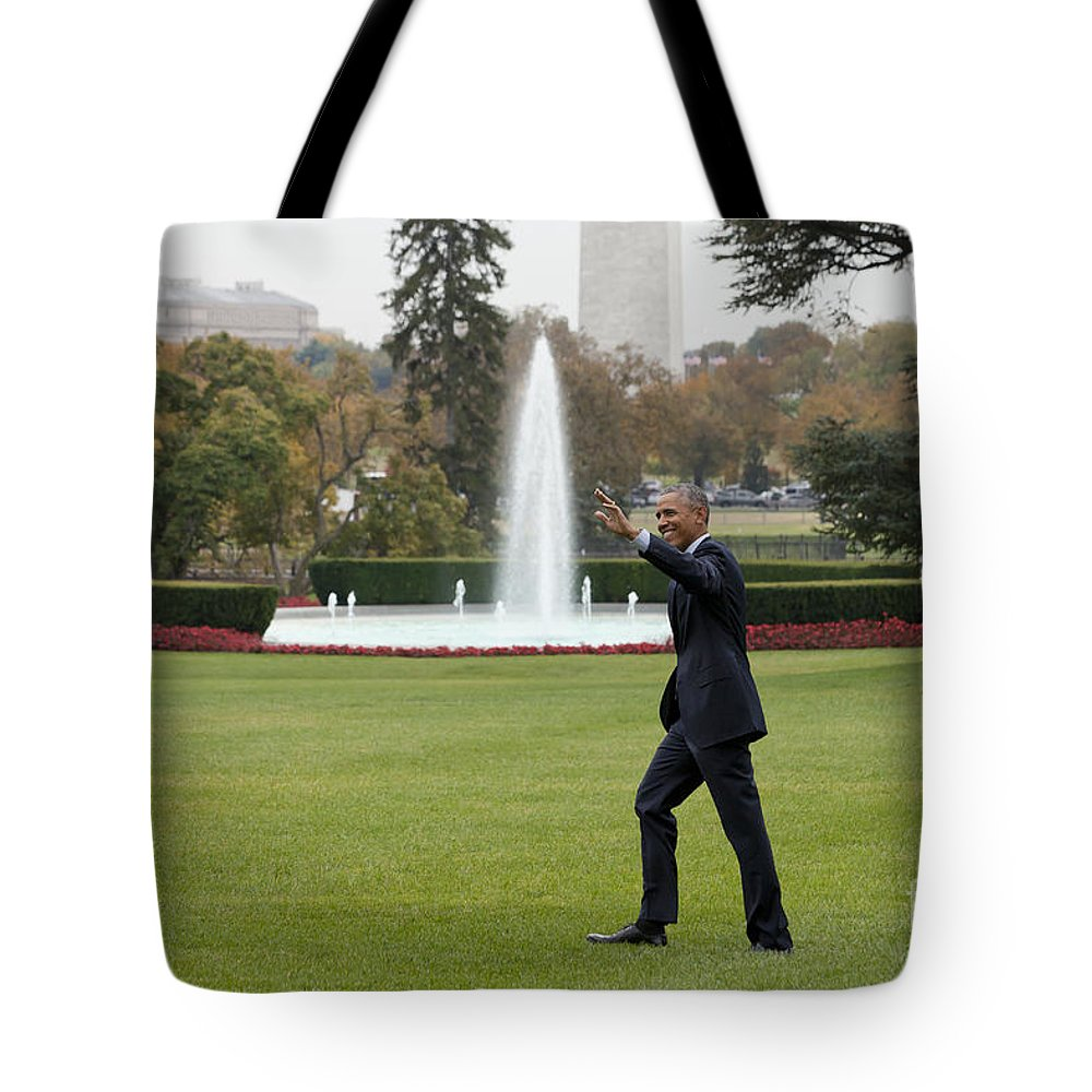 President Tote Bag featuring the photograph President Obama - White House South Lawn #1 by B Christopher