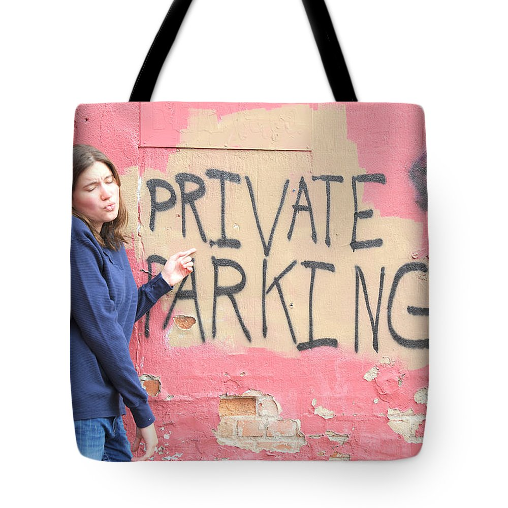 Private Tote Bag featuring the photograph Private Parking. by Oscar Williams