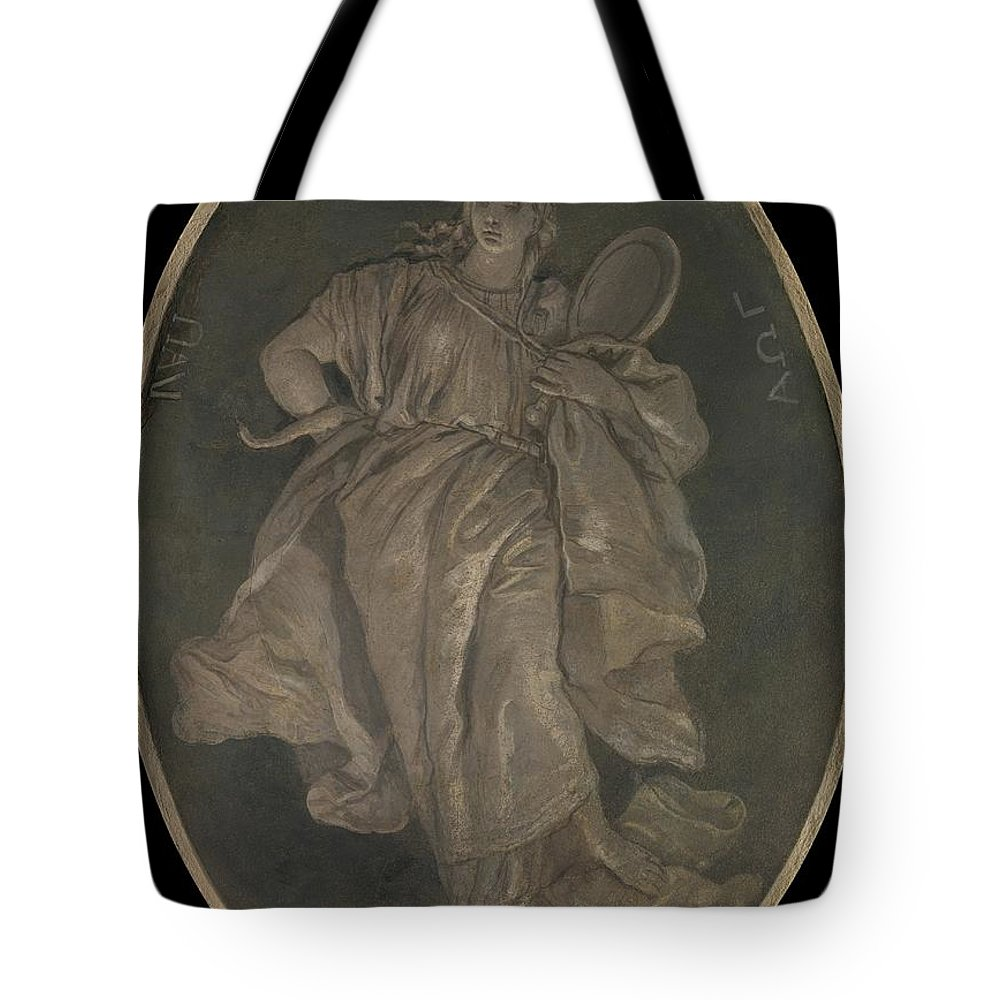 Workshop Of Giovanni Battista Tiepolo Prudence Tote Bag featuring the painting Prudence by Workshop of Giovanni Battista Tiepolo