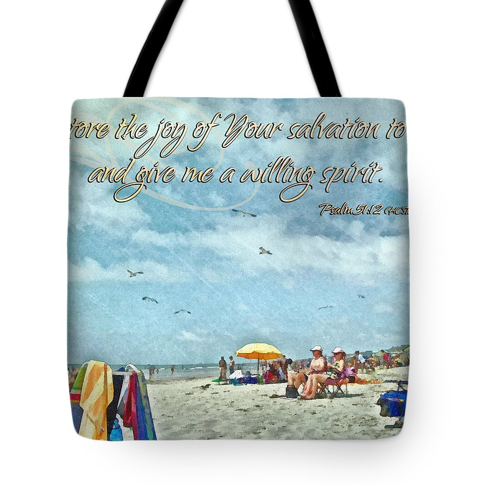 Jesus Tote Bag featuring the digital art Psalm 51 12 by Michelle Greene Wheeler