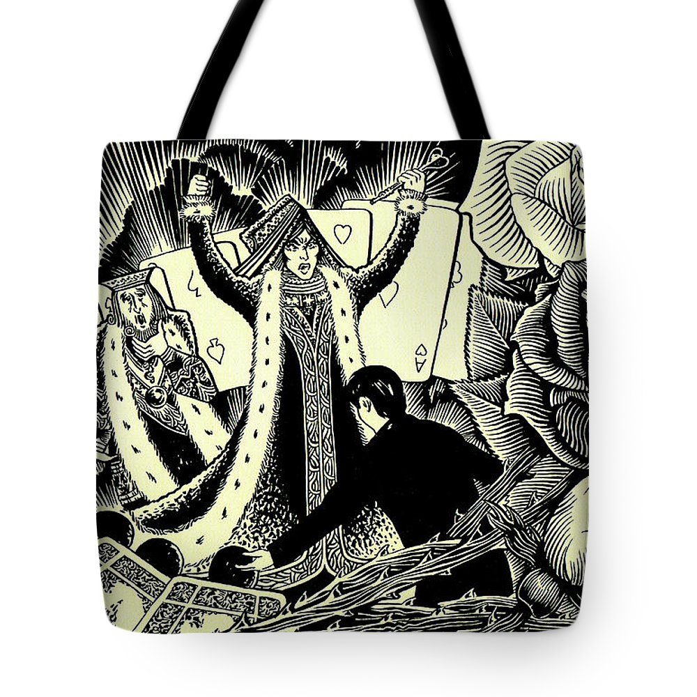 Queen Of Hearts Tote Bag featuring the drawing Queen Of Hearts by Lance Miyamoto