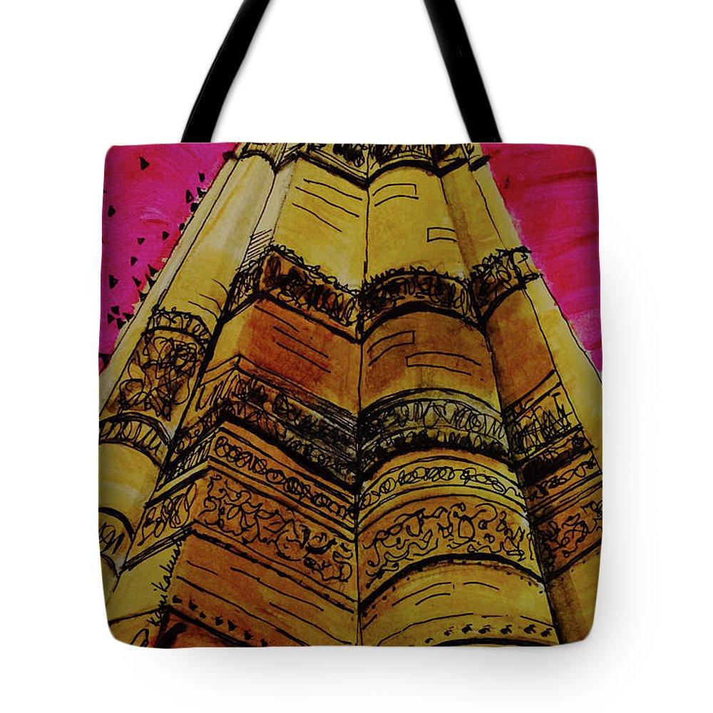 Qutab Minar Of India Tote Bag featuring the painting Qutab Minar Of India, Monument Of India by Kanika