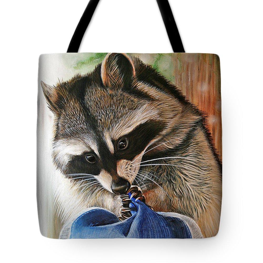 Raccoon Tote Bag featuring the painting Raccoon Cap by Cara Bevan
