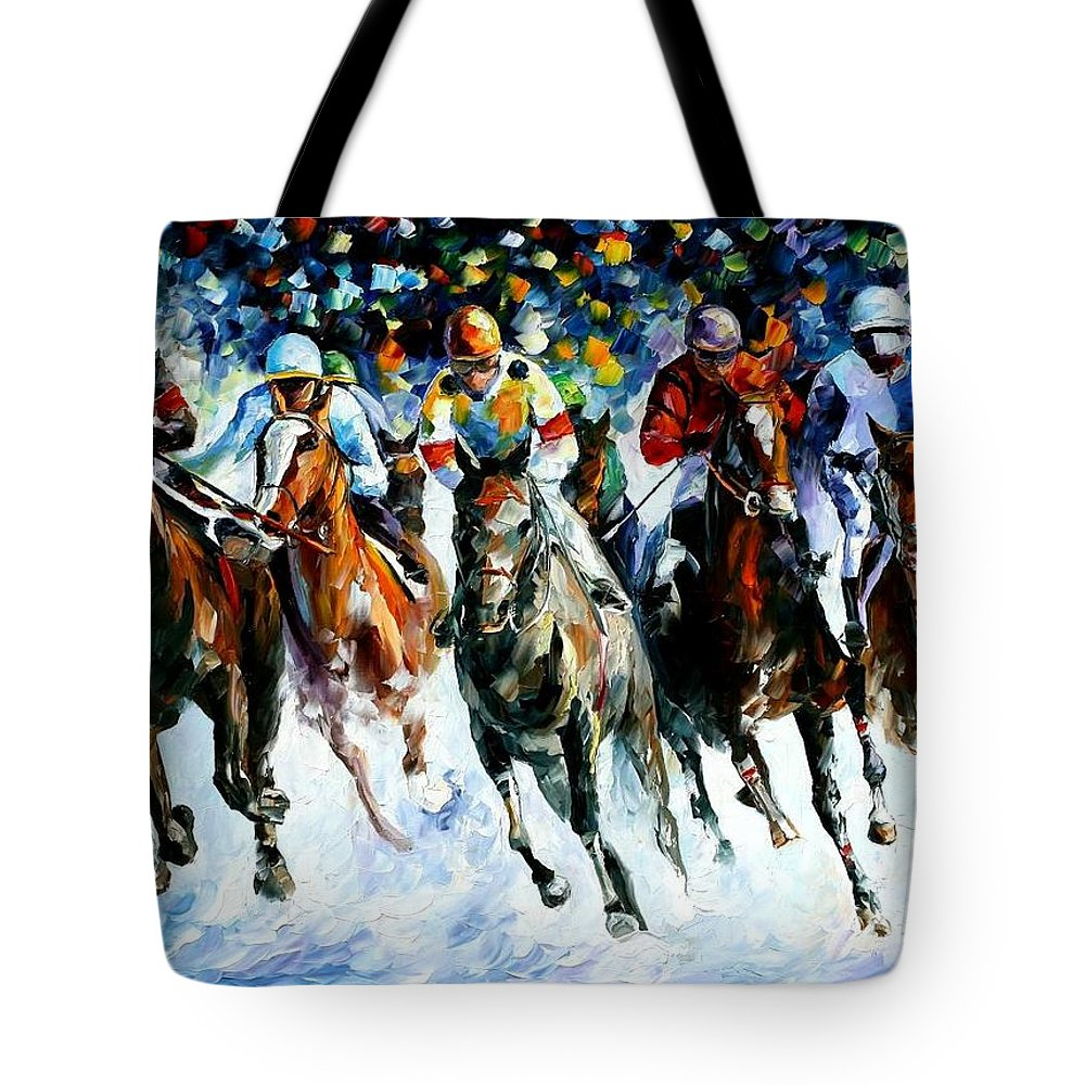 Afremov Tote Bag featuring the painting Race On The Snow by Leonid Afremov
