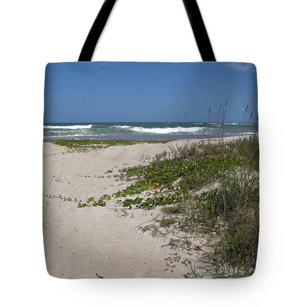 Railroad Tote Bag featuring the photograph Railroad Vine And Sea Oats On The Atlantic In Florida by Allan Hughes