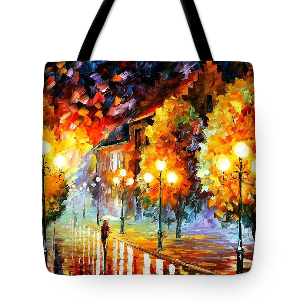 Afremov Tote Bag featuring the painting Rain In The Night City by Leonid Afremov