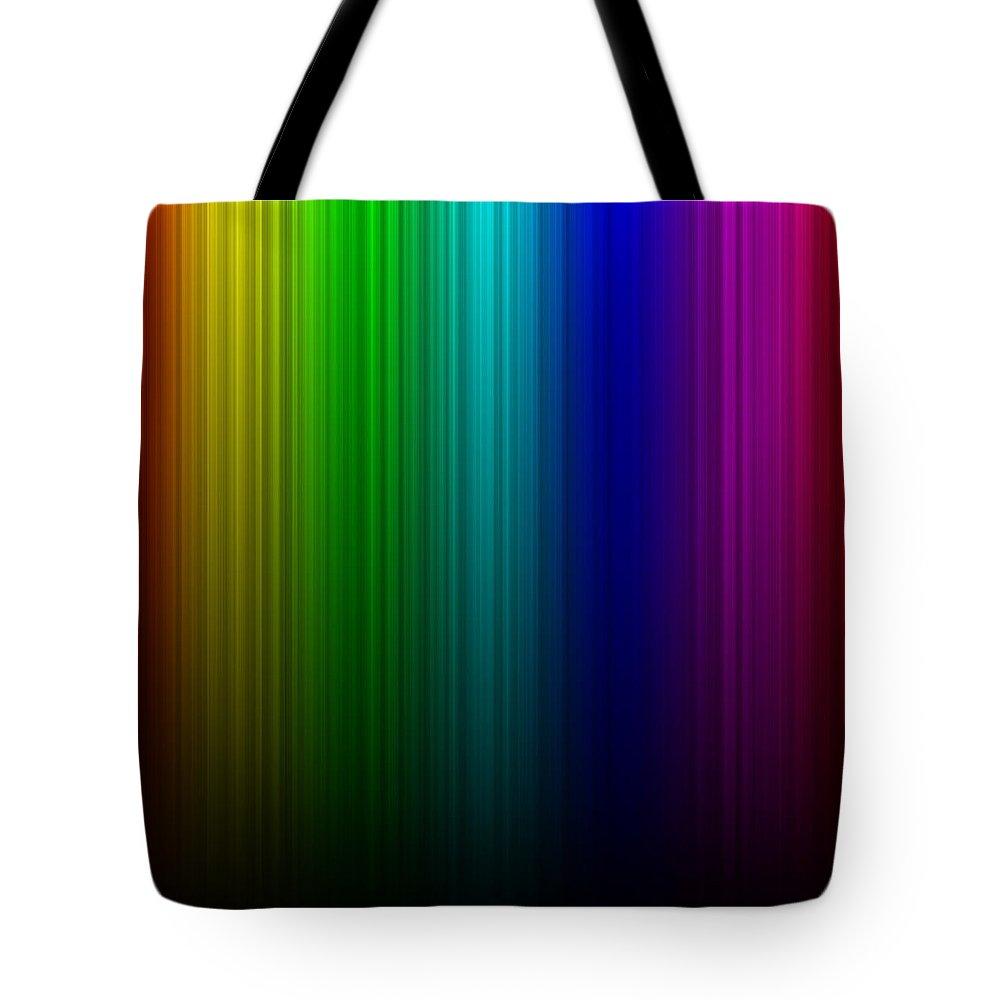 Abstract Tote Bag featuring the digital art Rainbow Aurora by Miroslav Nemecek