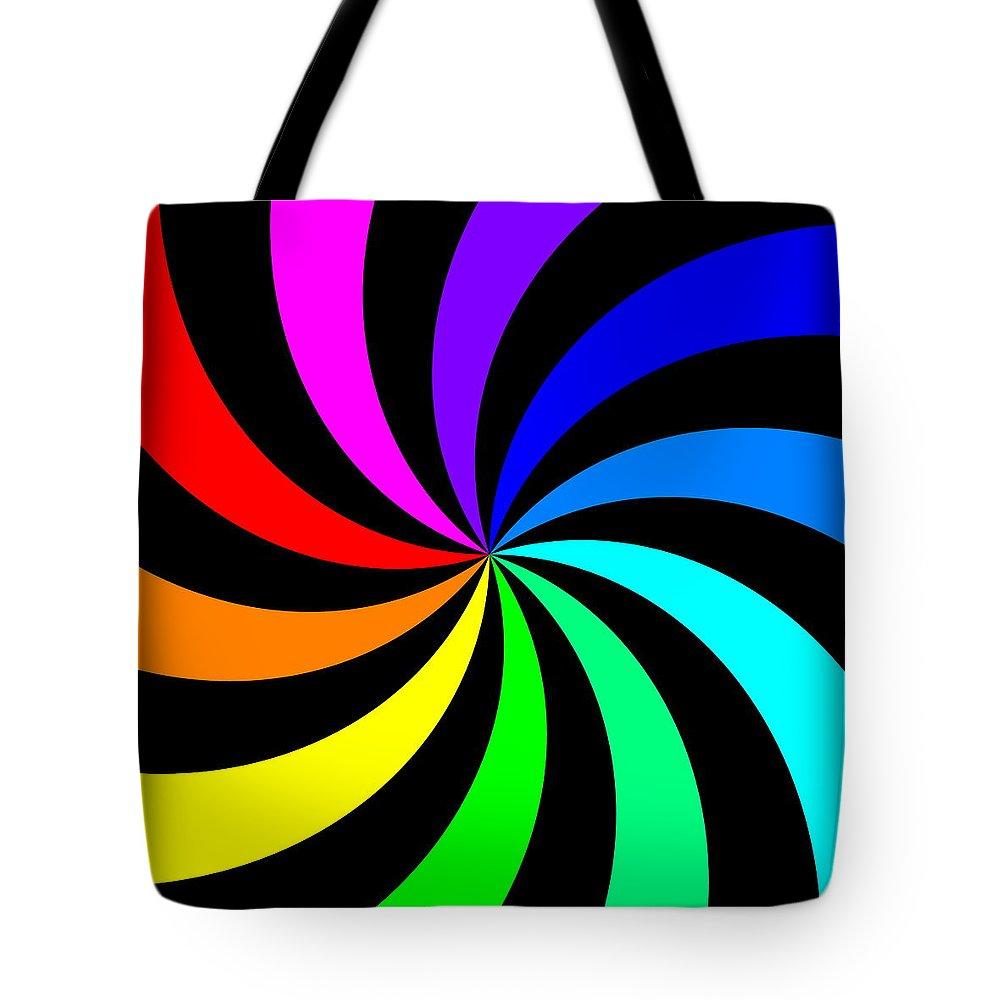 Abstract Tote Bag featuring the digital art Rainbow Spectral Swirl by Miroslav Nemecek