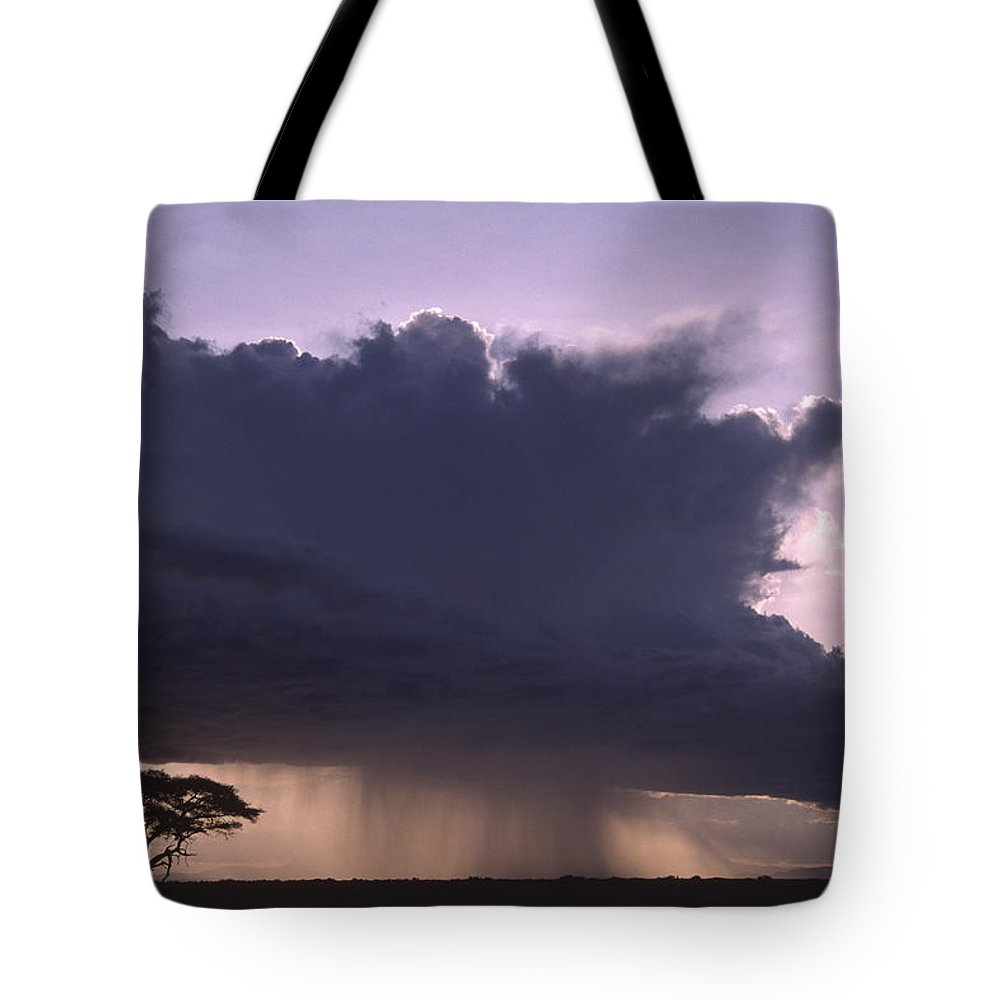 Africa Tote Bag featuring the photograph Rainstorm At Amboseli by Michele Burgess