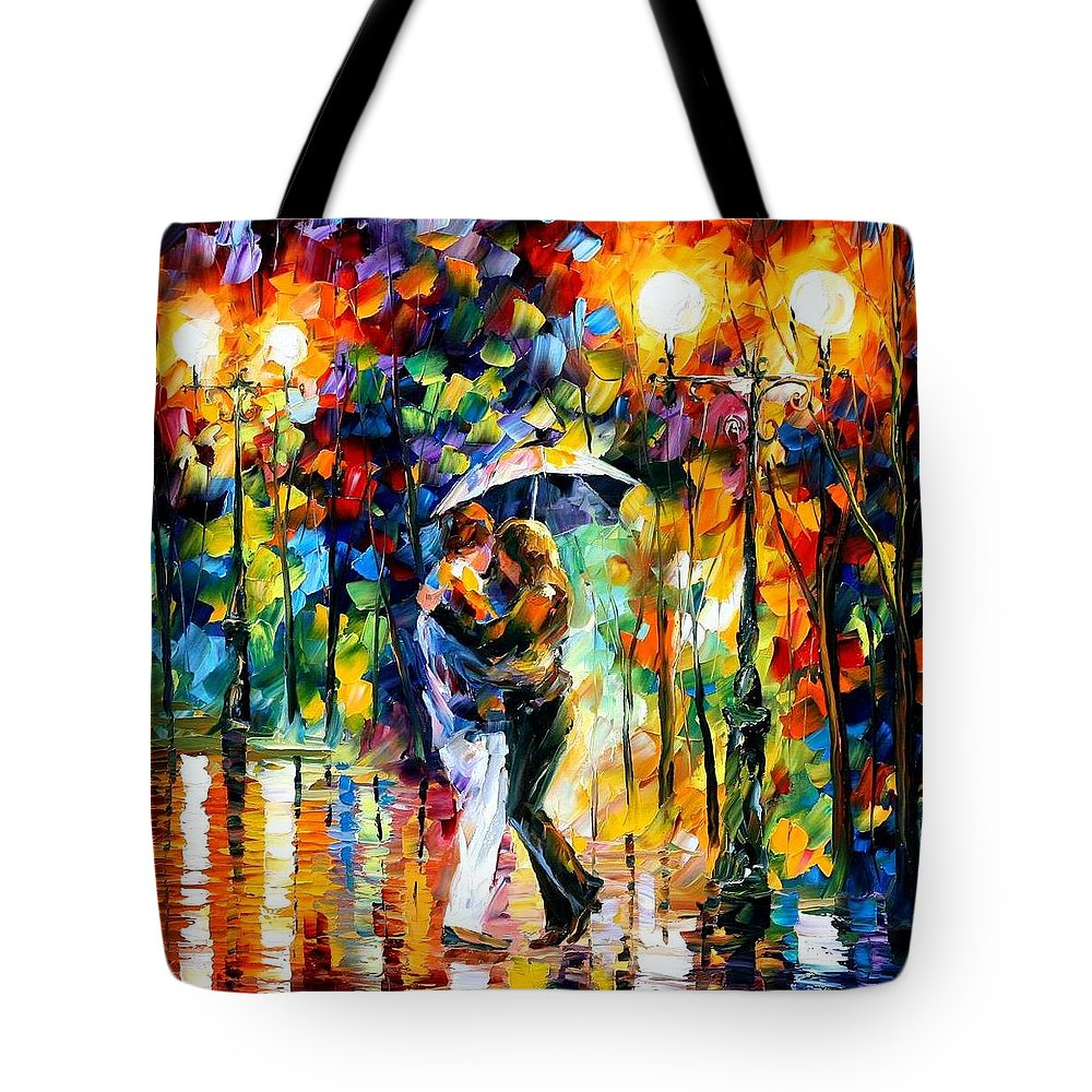Afremov Tote Bag featuring the painting Rainy Dance by Leonid Afremov