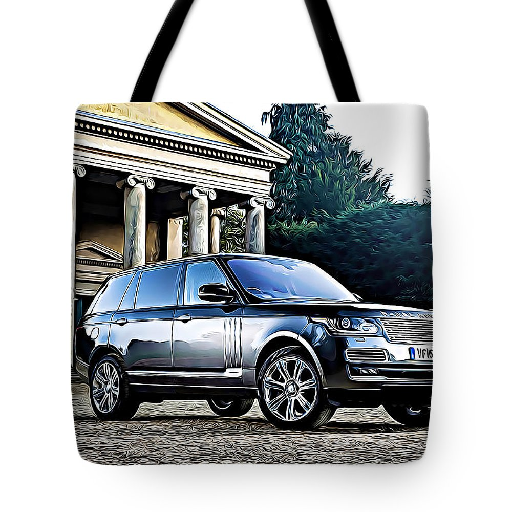 Range Rover Tote Bag featuring the digital art Range Rover by Lora Battle