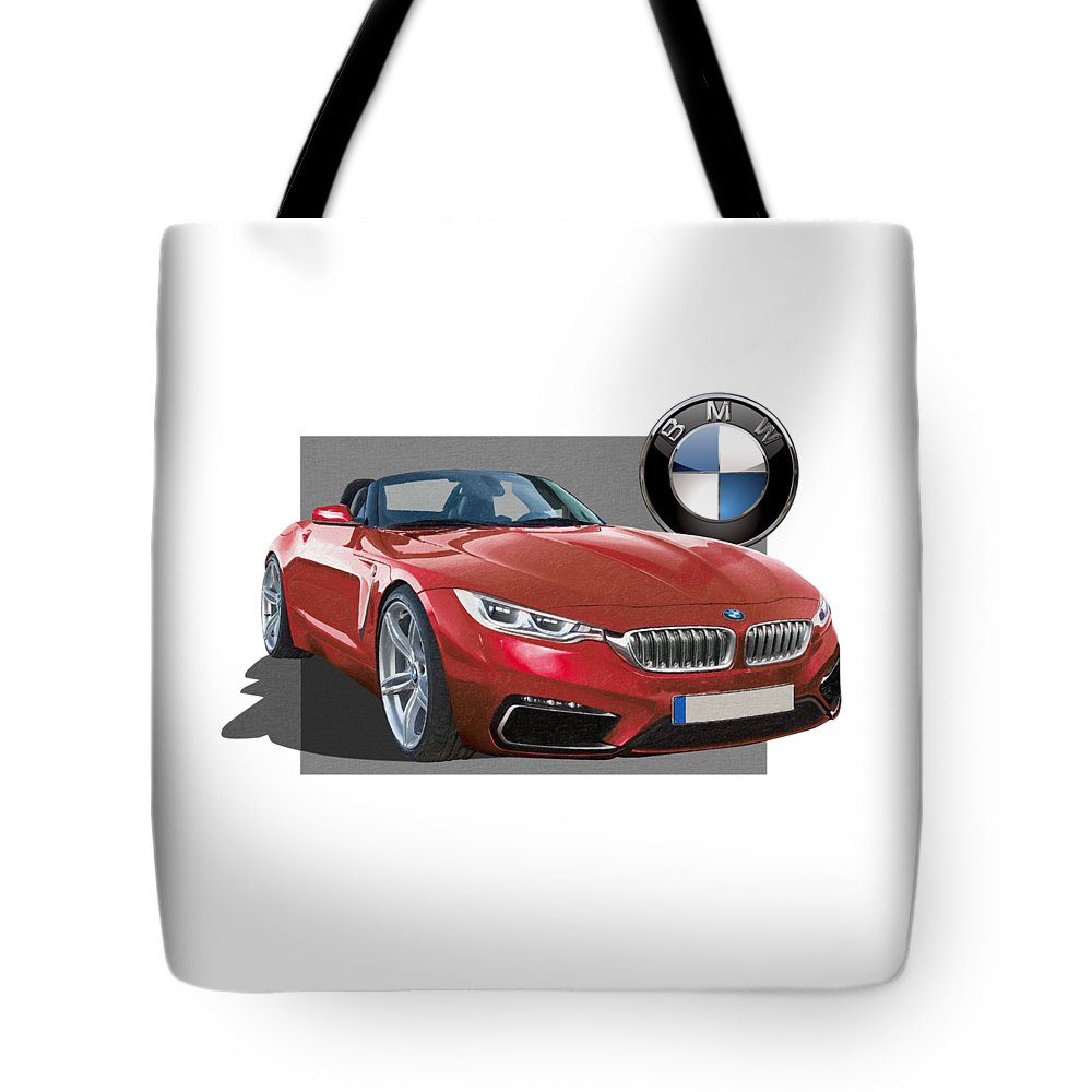 �bmw� Collection By Serge Averbukh Tote Bag featuring the photograph Red 2018 B M W Z 5 With 3 D Badge by Serge Averbukh