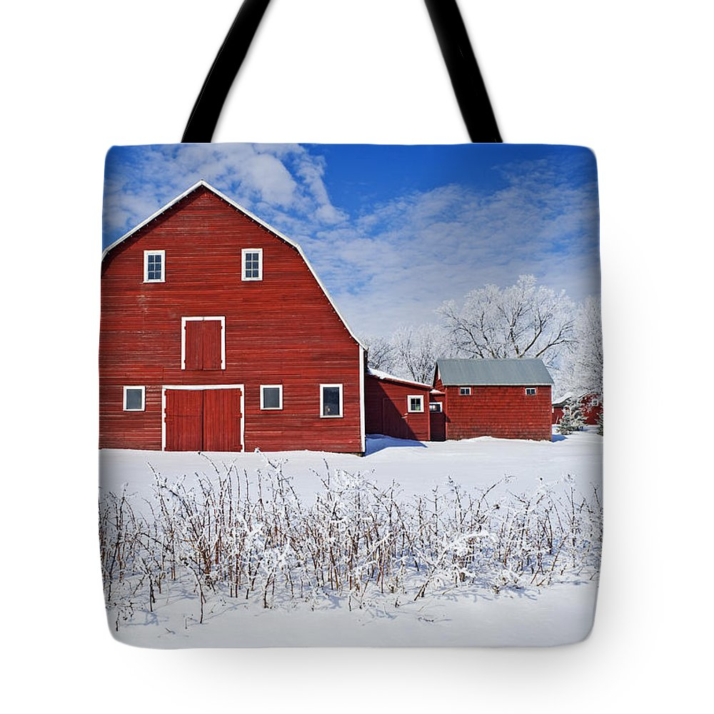 Barns Tote Bag featuring the photograph Red Barn, Winter, Grande Pointe by Dave Reede