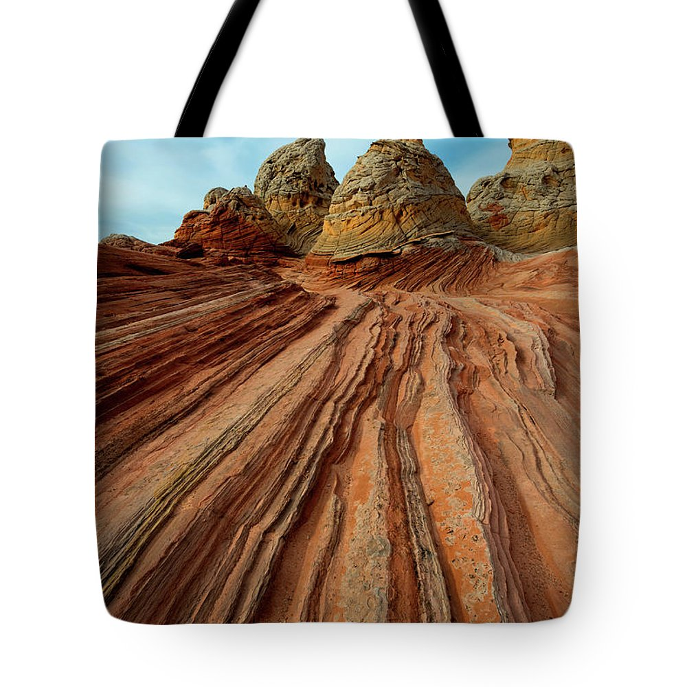 Sandstone Tote Bag featuring the photograph Red Desert Lines by Mike Dawson