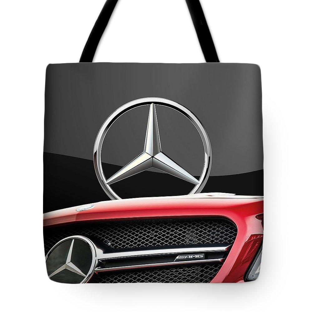 'auto Badges' By Serge Averbukh Tote Bag featuring the photograph Red Mercedes - Front Grill Ornament and 3 D Badge on Black by Serge Averbukh
