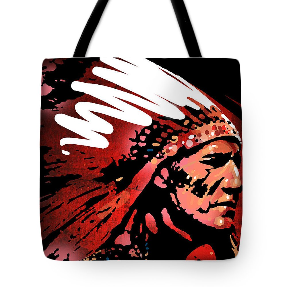 Native American Tote Bag featuring the painting Red Pipe by Paul Sachtleben