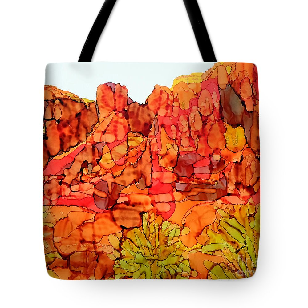 Alcohol Ink Tote Bag featuring the painting Red Rock Canyon Loop by Vicki Housel