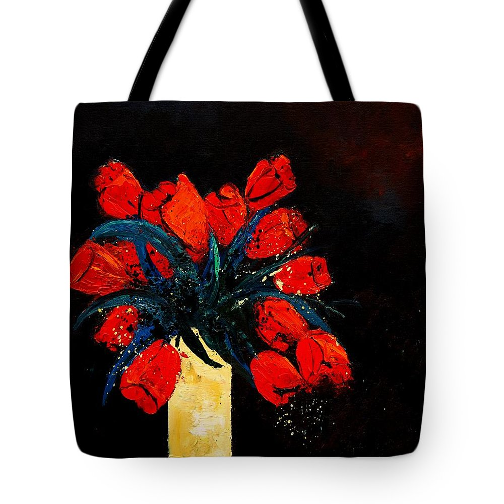 Flowers Tote Bag featuring the painting Red Tulips by Pol Ledent