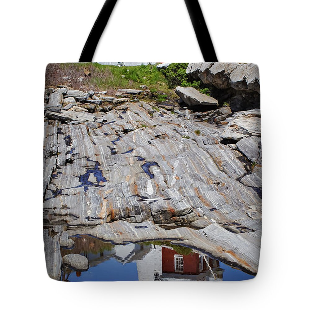 Lighthouse Tote Bag featuring the photograph Reflections Of Pemaquid by Brenda Giasson