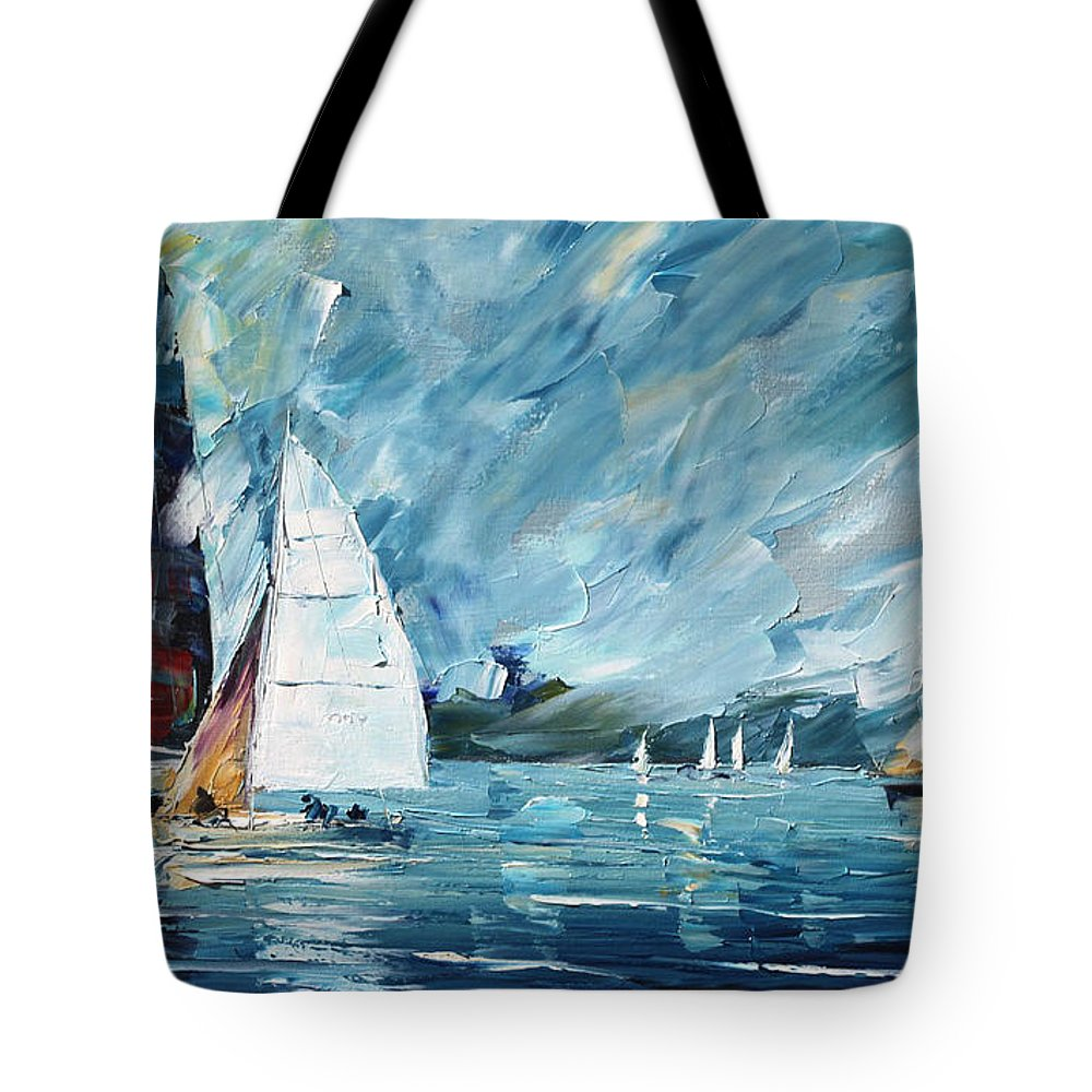 Boat Tote Bag featuring the painting Regatta by Leonid Afremov
