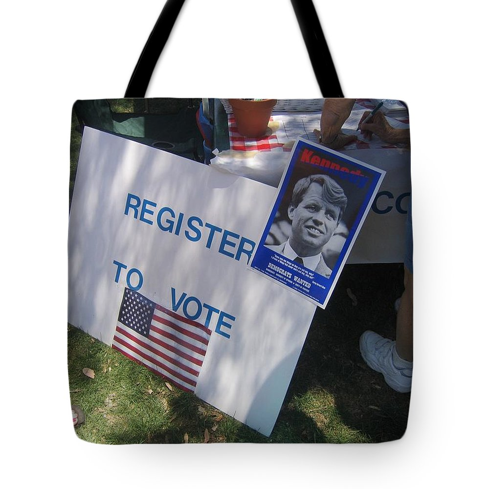 Register To Vote Bobby Kennedy Poster Sylver Short Hand Peart Park Casa Grande Arizona 2004 Tote Bag featuring the photograph Register To Vote Bobby Kennedy Poster Sylver Short Hand Peart Park Casa Grande Arizona 2004 by David Lee Guss