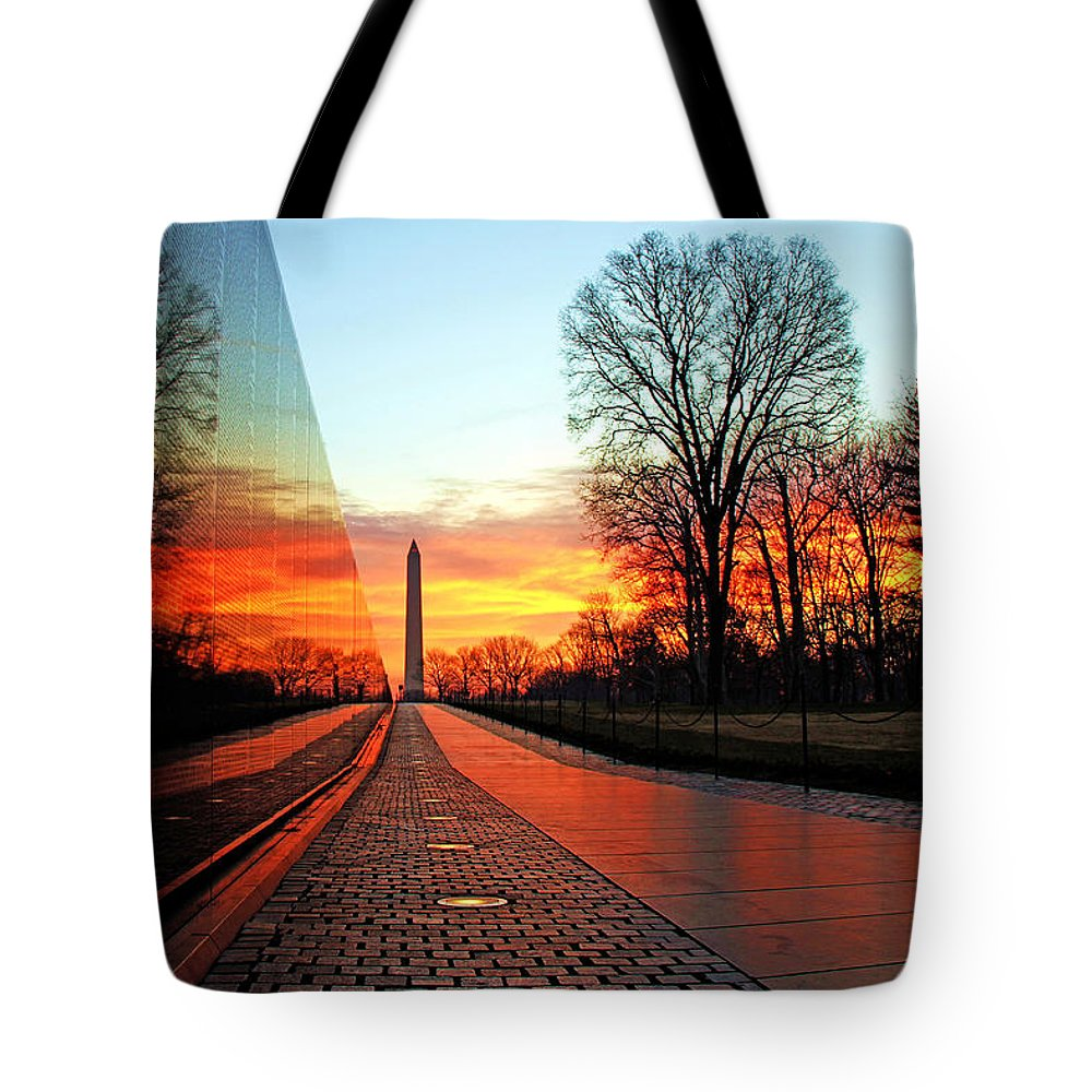 Vietnam Memorial Tote Bag featuring the photograph Resolve by Mitch Cat