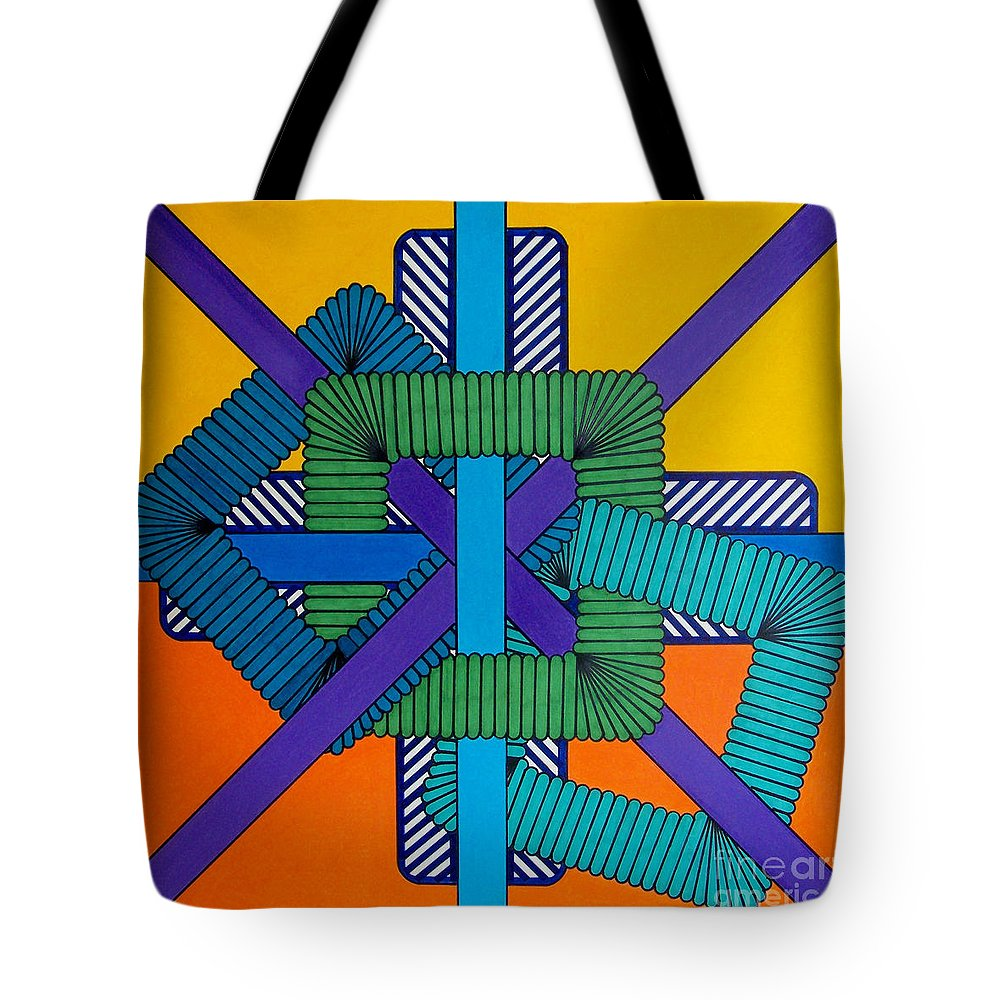 Orange & Yellow Abstract Tote Bag featuring the drawing Rfb0600 by Robert F Battles