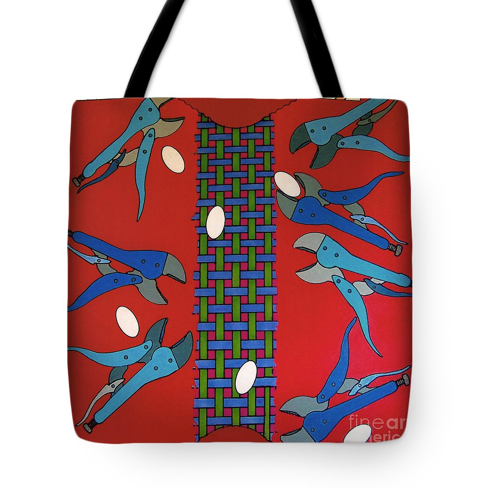 Delicate Eggs Tote Bag featuring the drawing Rfb0919 by Robert F Battles