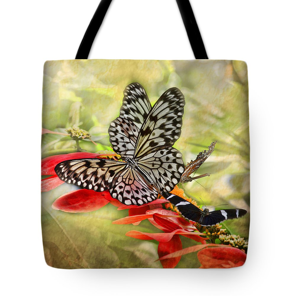 Rice Paper Butterfly Tote Bag featuring the photograph Rice Paper Butterflies by TN Fairey