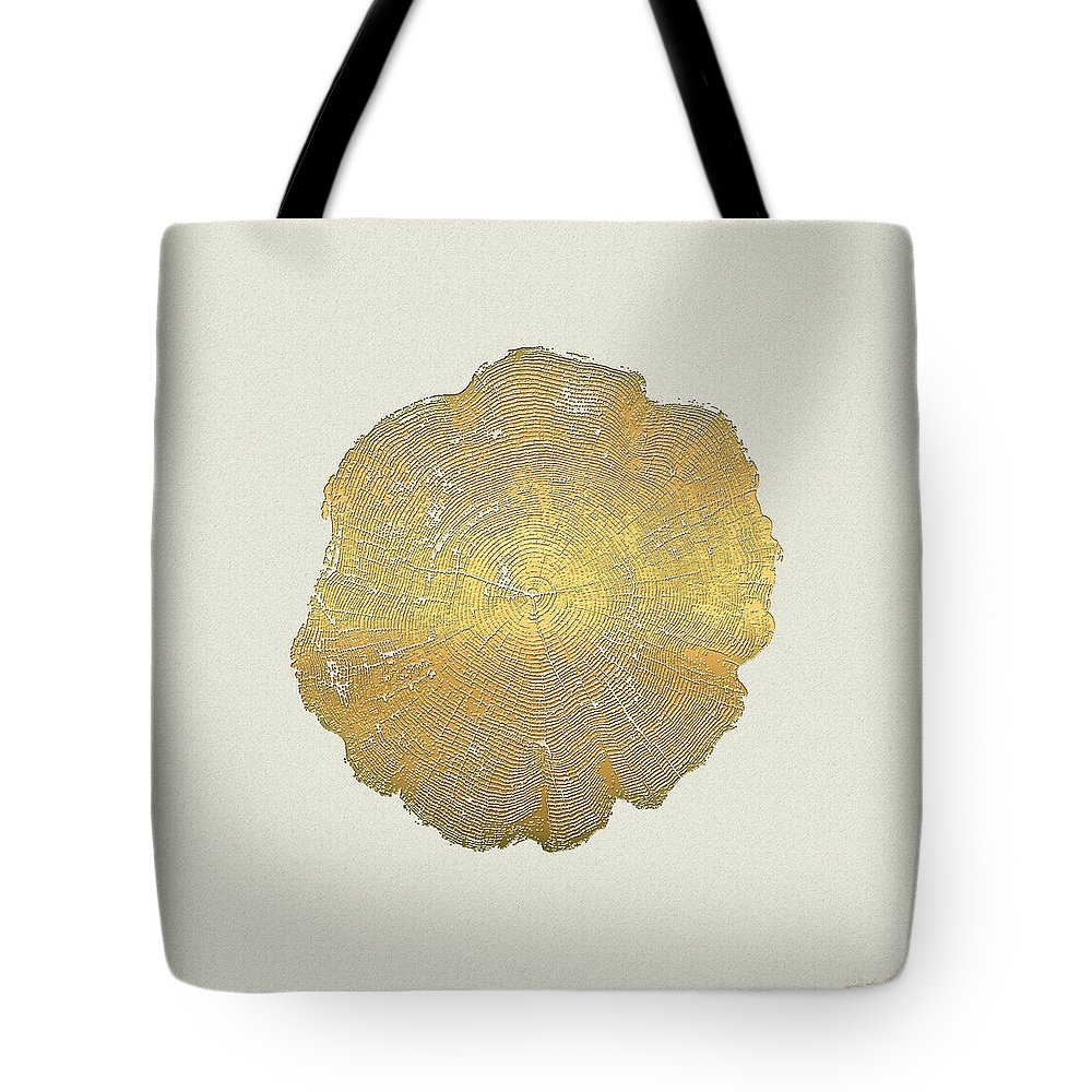 Inconsequential Beauty By Serge Averbukh Tote Bag featuring the photograph Rings of a Tree Trunk Cross-section in Gold on Linen by Serge Averbukh